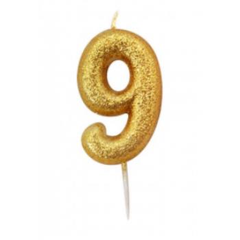 Vela Glitter Dourado Nº.9