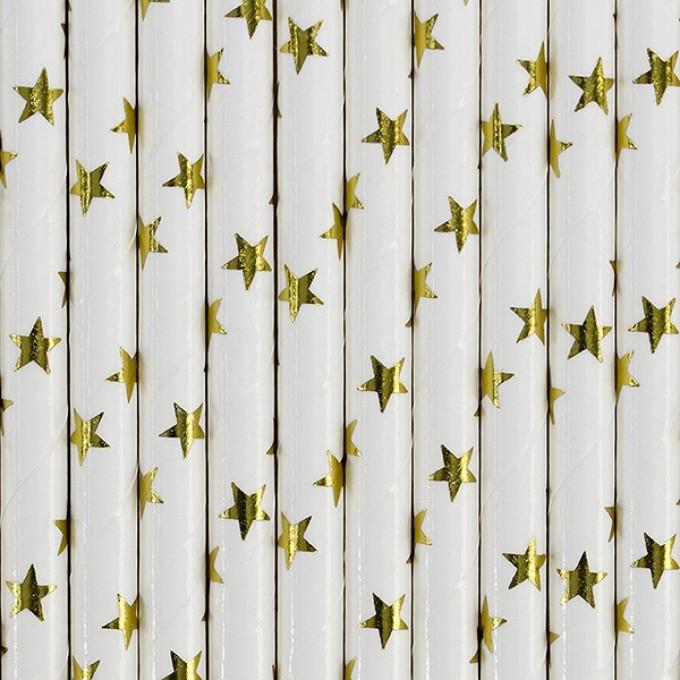 Palhinhas Papel Estrelas Ouro