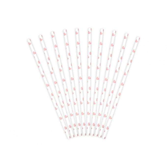 Palhinhas Papel Coração Rosa Claro - Pack 10