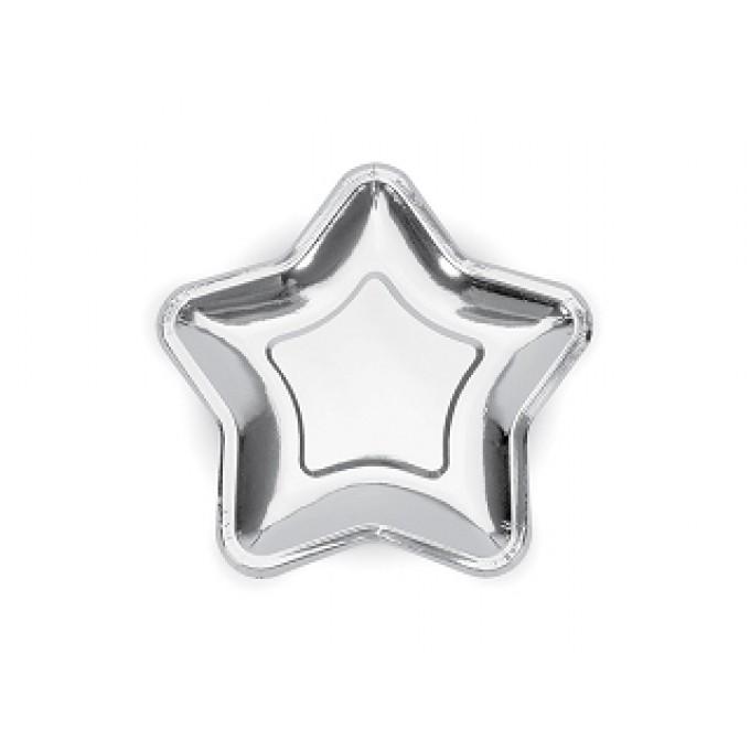Pratos Estrela Prateado - 6 uni.