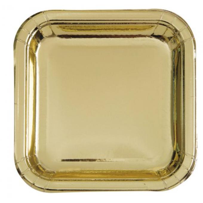 Prato Quadrado Ouro - 17cm