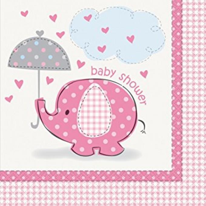 Elefante Rosa Guardanapos - Pack 16