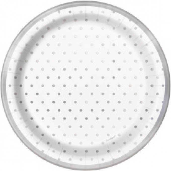 Prato Branco com Bolinhas Prata - 17cm