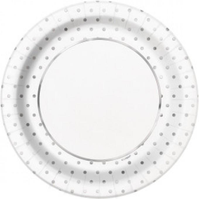Prato Branco com Bolinhas Prata - 22cm