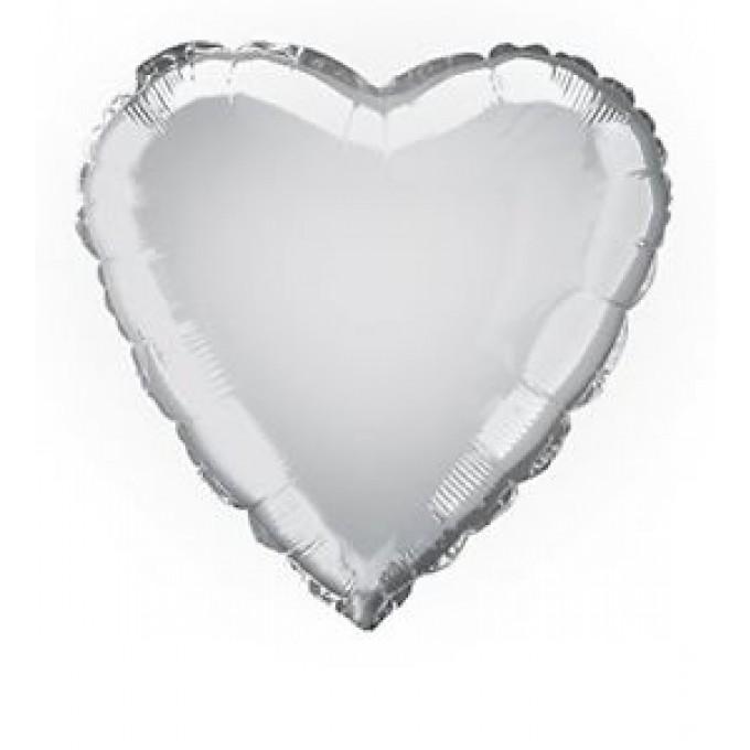 Balão Coração Prata - 45cm