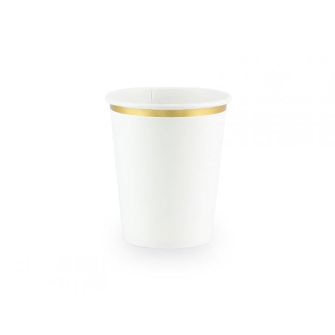 Copos branco com rebordo dourado 260ml - Pack.6