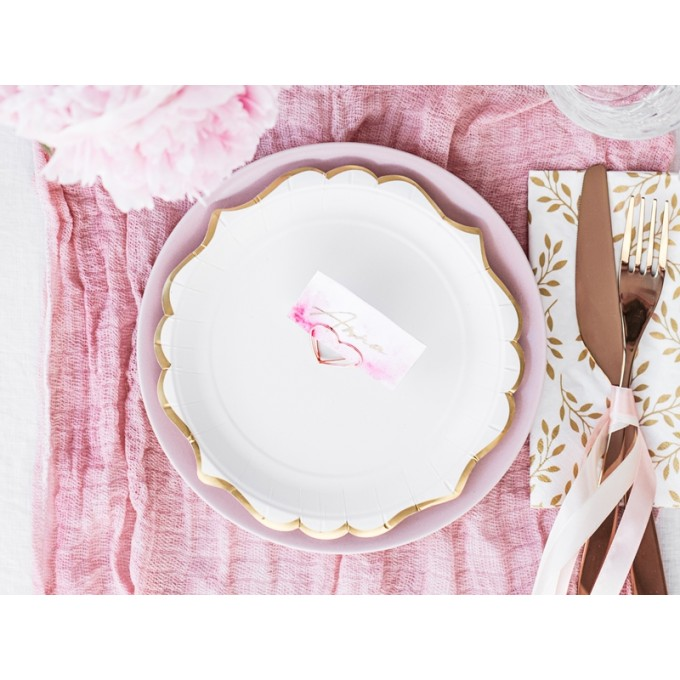 Pratos Branco Contorno Ouro Estilo Porcelana - Pack 6