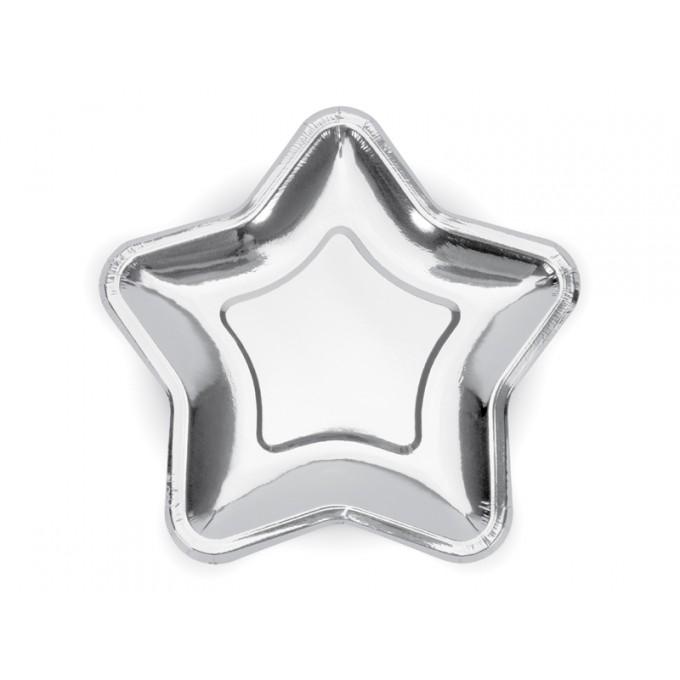 Pratos Estrela Grande Prata - Pack 6