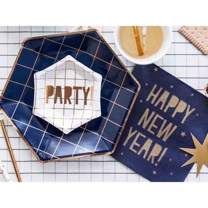 Pratos azuis e ouro Party - Pack 6