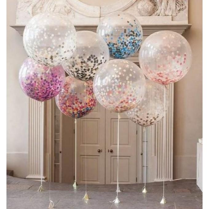 Balão Gigante com Confetti Colorido