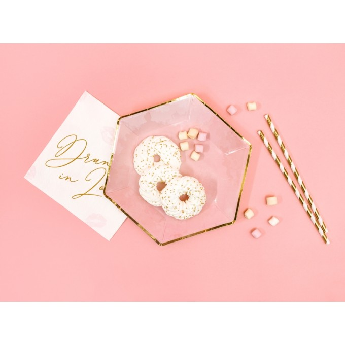 Pratos rosa com contorno ouro - Pack 6