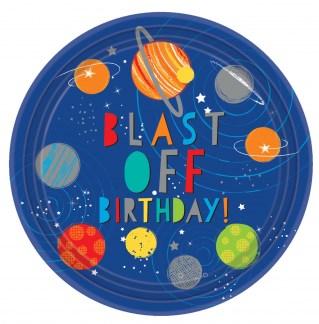 Blast Off Birthday Pratos - Pack 8
