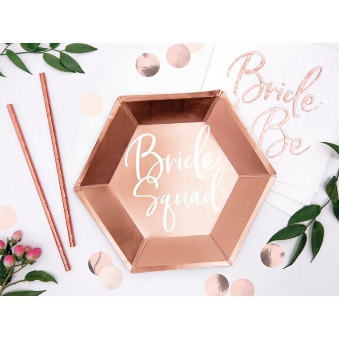 Pratos Bride Squad Rose Gold 23cm - Pack 6