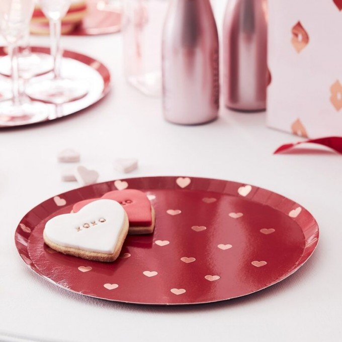 hg 303 red plate with rose gold foiled hearts min