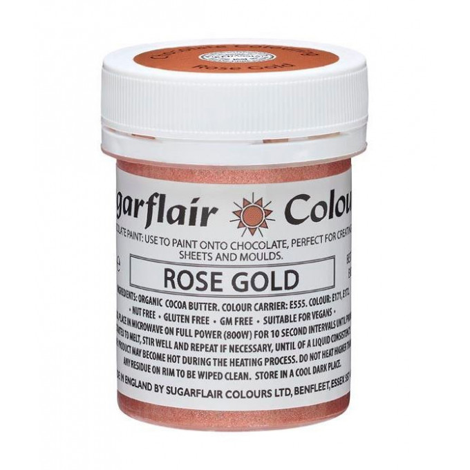Corante Chocolate Paint Sugarflair Metalico Rose Gold 35Gr 1 1