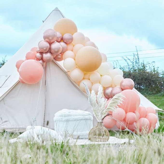ba 317 large rose gold chrome and nude balloon arch min