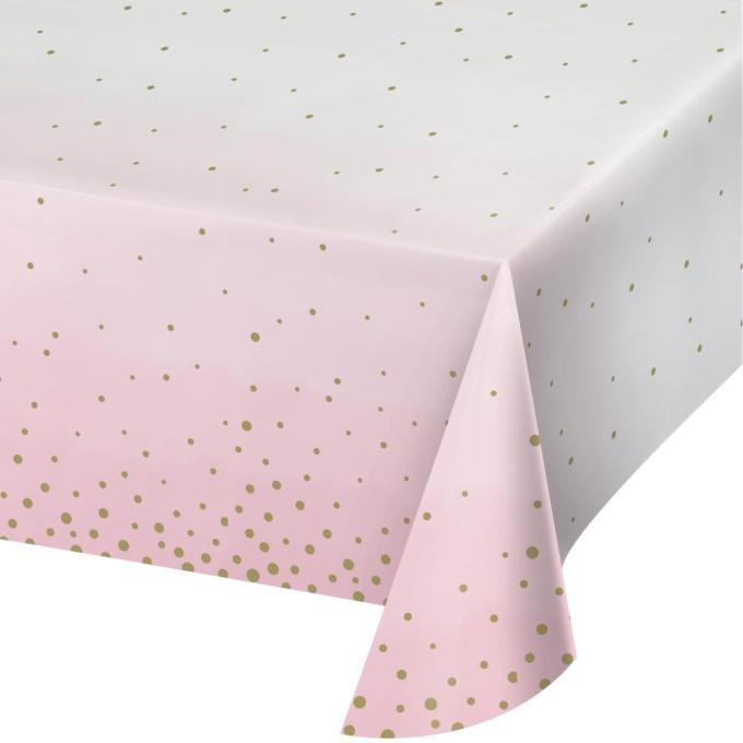 toalha rosa papel bolas douradas 1