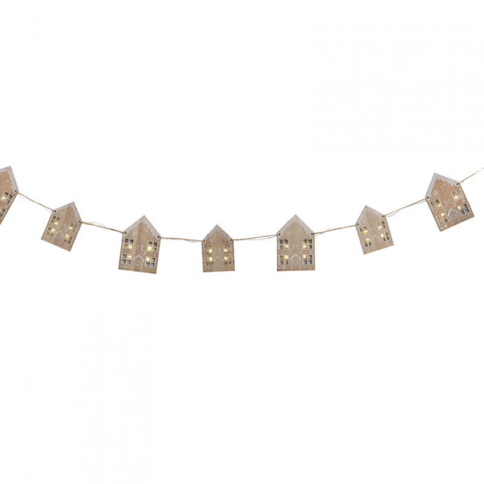 noel 105   wooden gingerbread house bunting with light up windows   cut out