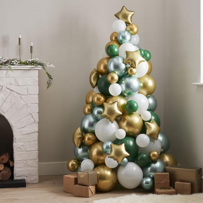 noel 141   green and gold balloon tree
