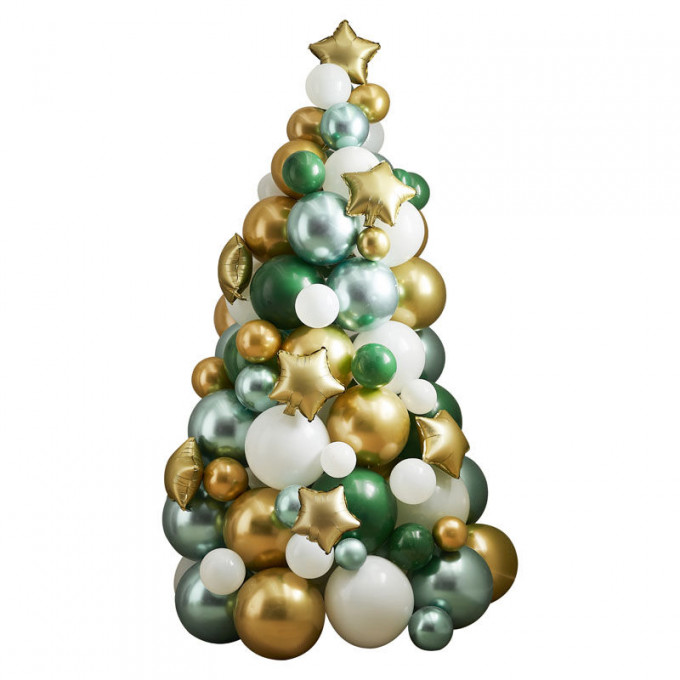 noel 141   green and gold balloon tree   cut out