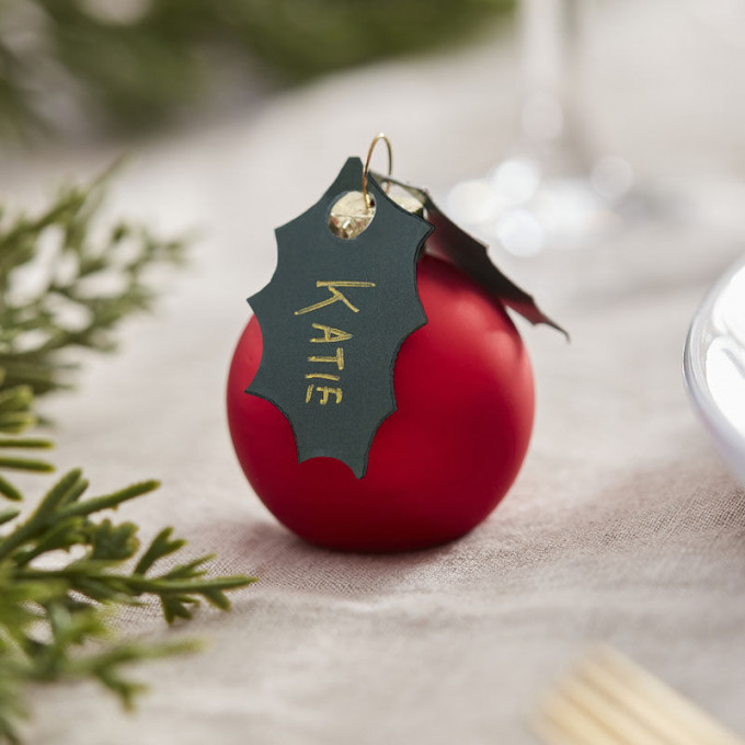 red 539   red berry bauble place card holders