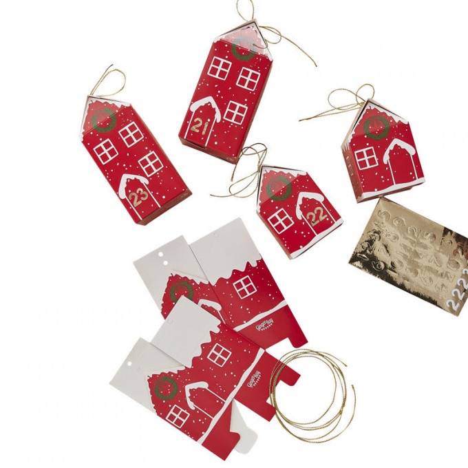 red 557   fill your own festive house advent boxes   cut out